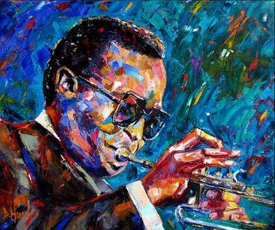 "Abstract Jazz Music Art Portrait Painting ""Miles D"" by Texas Artist Debra Hurd"