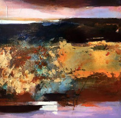 """Contemporary Abstract Landscape Art Painting, 30 Day Challenge """"Before The storm"""" by Intuitive Artist Joan Fullerton"""