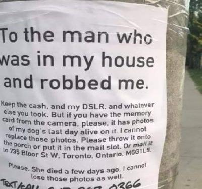 Excruciating Note Begs Thief to Return Photos of Dogs Last Days
