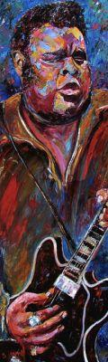 "Colorful Jazz Art Music Art Painting ""Freddie King"" by Texas Artist Debra Hurd"