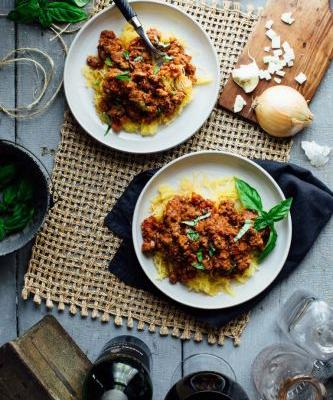 Spaghetti squash with turkey sausage ragu
