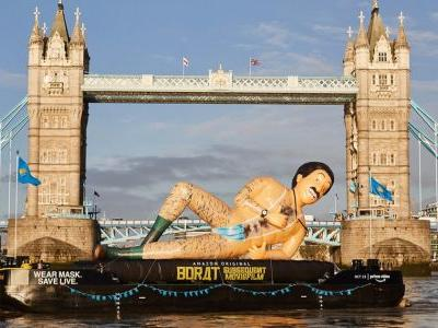 Giant Inflatable Borat Sails Down Thames in Celebration of Subsequent Moviefilm Release