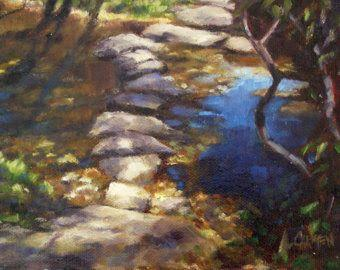 SALE 20% off and Free Shipping, Oil Painting on Canvas Panel, Stepping Stones, 5x7 Landscape