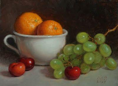"""Cherries, Grapes and Oranges"" Oil on 6x8 inch board"