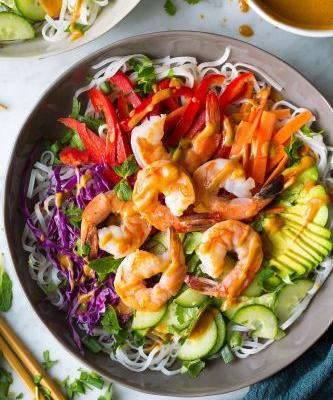 Rainbow Spring Roll Bowls with Shrimp or Chicken and Peanut Sauce