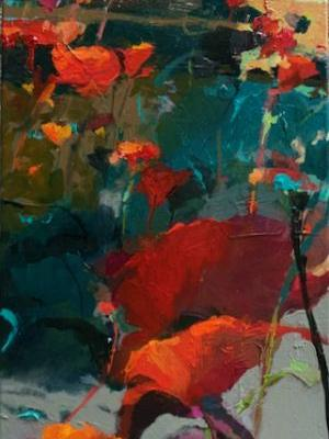 """Contemporary Botanical Floral Landscape Painting """"Poppy Field"""" by Intuitive Artist Joan Fullerton"""