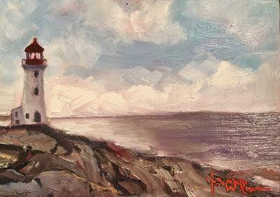 Norma Wilson Original Oil Michigan Lighthouse Lake Rocky Shore Painting Art