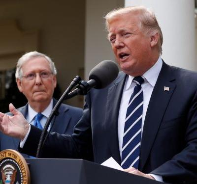 Trump holds bizarre, hastily-arranged press conference to reassure people that his relationship with McConnell is 'outstanding'