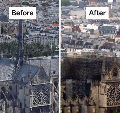 This graphic shows all that was destroyed - and what's still standing - following the Notre-Dame Cathedral fire