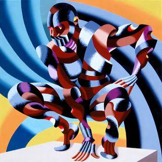 Mark Webster - Edison - Abstract Geometric Futurist Figurative Oil Painting