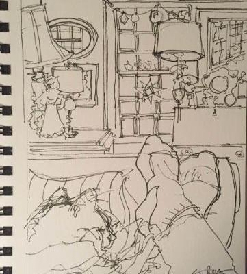 """Day 136 """"Naptime"""" 9 x 6 pen & ink"""