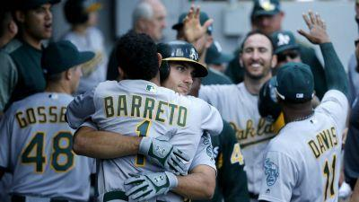 Olson, Brugman, Barreto hit 1st HRs, A's rout White Sox