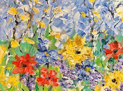 """Impressionist Floral Landscape Painting, Palette Knife Painting """"Just For You"""" by Colorado Impressionist Judith Babcock"""