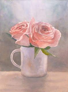 Pink Roses In Cup Still Life Watercolor Flowers Floral