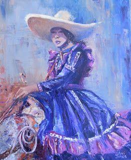 Mexican Cowgirl, New Contemporary Painting by Sheri Jones