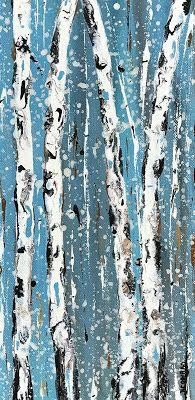 """Holiday Sale Aspen Tree Painting,Abstract Landscape,Birch Trees """"Saplings in Winter IV-Winter Aspens 2017 Series"""" by Colorado Contemporary Landscape Artist Kimberly Conrad"""