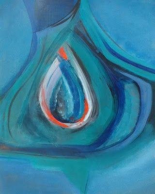 "Abstract Expressionism, Contemporary Art, Acrylic Painting ""Captive Teardrop"" by Arizona Abstract Artist Cynthia A. Berg"