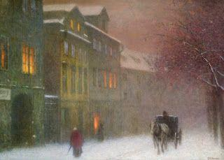 Jakub Schikaneder, Street with a Cab in the Winter Dusk