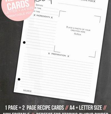 30 Fresh Binder Size Recipe Template Images