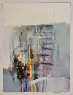 """Contemporary Abstract Landscape Painting """"Vertical Fence"""" by Intuitive Artist Joan Fullerton"""