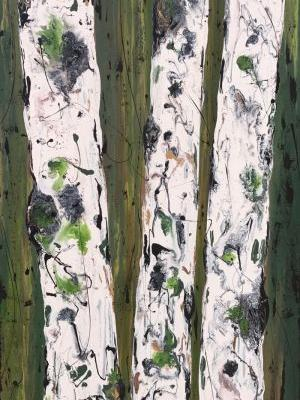 "Aspen Tree Painting,Abstract Landscape,Birch Trees ""FORREST REFLECTIONS II-ASPENS ON GREEN SERIES"" by Colorado Contemporary Landscape Artist Kimberly Conrad"