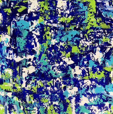 """Abstract Expressionist Palette Knife Art Painting """"Bladeworks 151-Coastal Abstract"""" by International Abstract Artist Kimberly Conrad"""