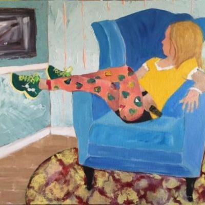 "Figurative Art,Interior View Painting, Blue Chair ""Her Favorite Chair"" by Oklahoma Artist Nancy Junkin"