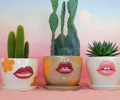 Rosy, Voluptuous Lips and Moody Faces Enliven Ceramic Vessels by Artist Tatiana Cardona