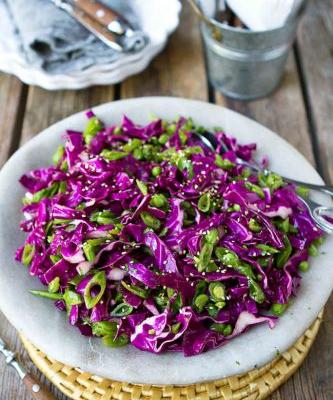 Hoisin Snap Pea & Red Cabbage Slaw Recipe