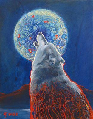 "Wolf, Wolf Painting, Wildlife Painting ""Why We Howl"" by Colorado Artist Nancee Jean Busse, Painter of the American West"