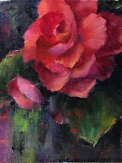 Pink Double Begonia by artist Pat Meyer