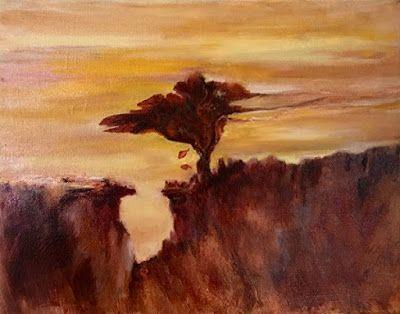 """Abstract Landscape Oil Painting """"Leaf Falling at Sunset"""" by California Artist Cecelia Catherine Rappaport"""