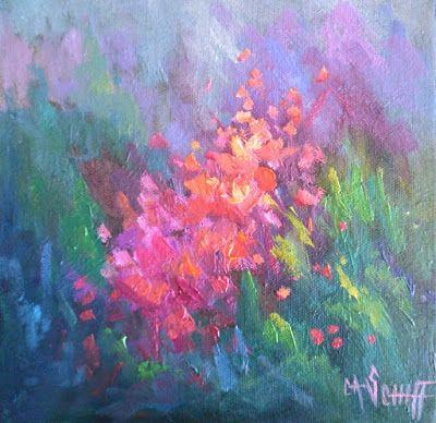 Flower Painting, Small Oil Painting, Floral Landscape, 8x8
