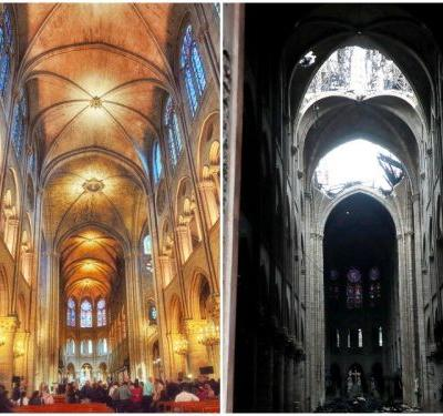 Before and after photos of the Notre-Dame Cathedral fire show devastating damage to the iconic site