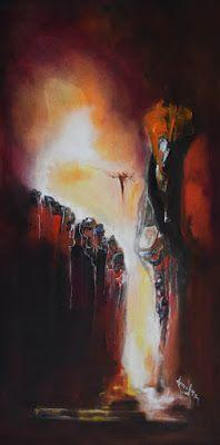 """Abstract Landscape Painting, Contemporary Art """"Marked For Favor"""" by International Abstract Artist Arrachme"""