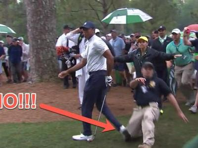 Tiger Woods was injured at the Masters when a security guard fell on his ankle trying to hold fans back