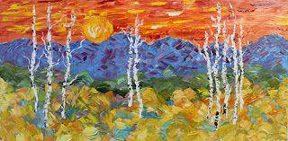 """Palette Knife Aspen Tree Colorado Landscape Painting """"Field of Color"""" by Colorado Impressionist Judith Babcock"""