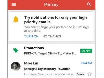 Gmail iOS app now uses AI to offer option of notifications only for important emails