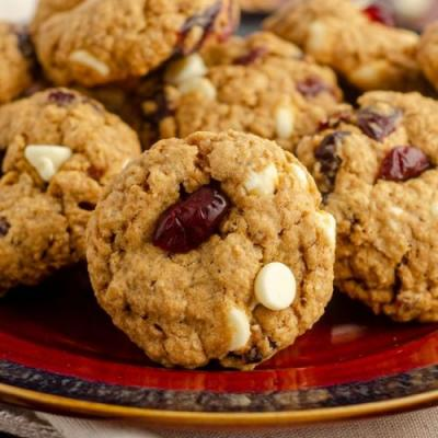 White choc cranberry oat cookies