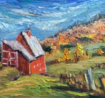 """Old Red"" Barn Painting by Palette Knife Artist Niki Gulley"