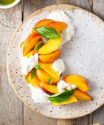 Macerated Peach and Burrata Salad with Basil Oil