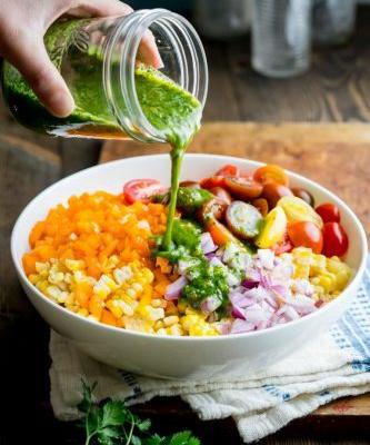 Vegan corn salad with jalapeño cilantro dressing