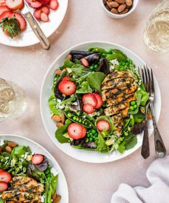 Spring Strawberry and Pea Salad with Chicken