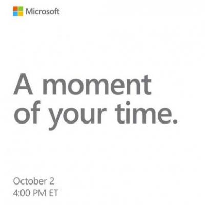 Microsoft event announced for October 2nd