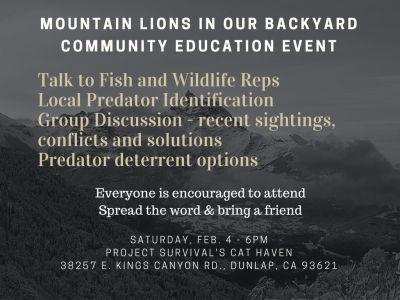 Mountain Lion Education Event - February 4th 6pm