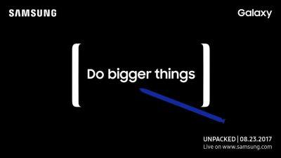 Samsung Galaxy Note 8 event scheduled for August 23