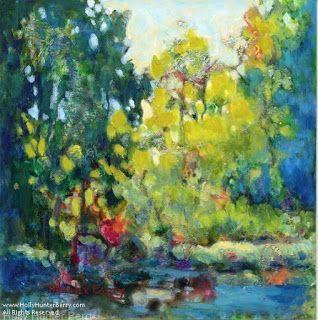 Contemporary Colorful Landscape, Tree Painting, Mixed Media