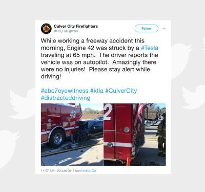 Tesla in Autopilot mode crashes into fire truck
