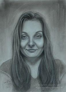 Mona Julia - drawing with charcoal 15'' by 11''