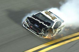 Aric Almirola taken out early in Duel 1 after hard wreck with Jimmie Johnson